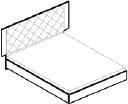 Кровать с мягким изголовьем (сп.место 160х200)   L. 194  x  209  H. 135   - Итальянская спальня Sarah