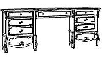 Туалетный столик (2 тумбы) для спальни Diamante. Размер: L. 170 x 44  H. 78