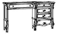 Туалетный столик однотумбовый. Размер: L. 126 x 44  H. 78