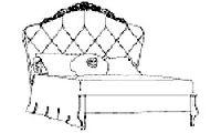 Кровать 100x200 BELLINI с обивкой капитоне лакированная, цвета слоновой кости детали с сусальным золотом. Размер: L.138 H.153 P.216