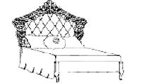 Кровать 100x200 с обивкой капитоне, сусальным золотом, с лакироваными деталями цвета слоновой кости. Размер: L.138 H.153 P.216