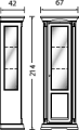 Витрина 1/А с зеркалом и подсветкой (левая) - Итальянская гостиная Palazzo Ducale lacato