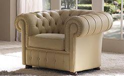 Кресло Chester в натуральной коже (кат. B), размер L. 110 x 85 H. 70 - Итальянская мягкая мебель