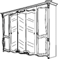 Шкаф 5-ти створчатый 3 зеркала L. 276 x 75  H. 229 - Итальянская спальня La Fenice (белый лак)